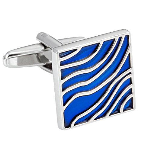Boutons de manchette cool pour hommes design vagues bleues émaillées sur acier inoxydable