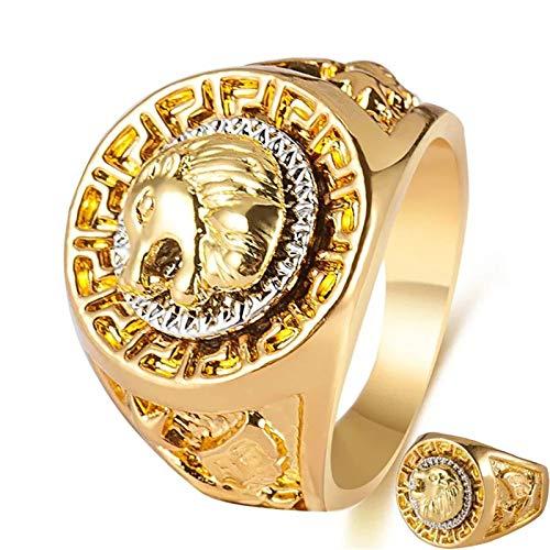 QAZXCV Goldener Löwenkopf Ring für Männer Frauen Edelstahl Coole Boy Band Party Lion Ring Dominierende Herrenring Golden Löwenkopf Ring,11