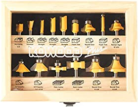 KOWOOD 15 Plus Router Bits Set. Essential Woodwork Tools for an Experienced Carpenter, Upgraded Version 15 pcs Router Bits Set, Kowood 15+ Router bits