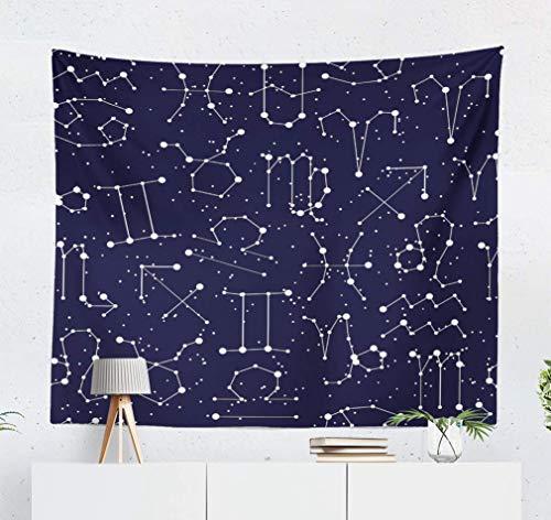 Duanrest Wandteppich,Sternzeichen Sternbild mit Linie und Sternen Black Sky Starry Zodiac Wandteppich für zu Hause 229x152cm