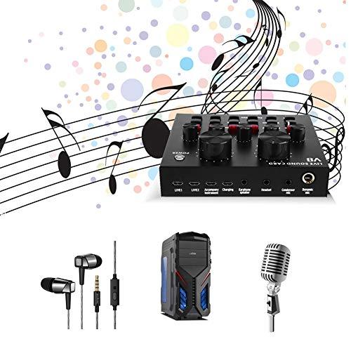 Clina Multifunktions-Live-Soundkarte USB-Audio-Schnittstelle Intelligentes Mikrofon Externe Soundkarte für Streamer, Gamer und Podcaster