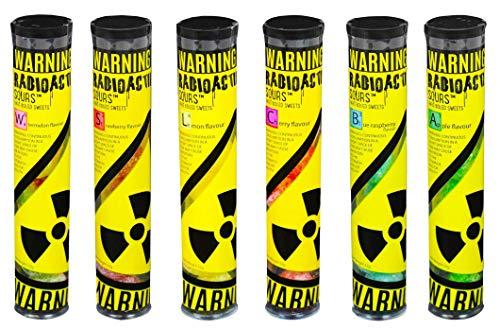 Radioactive Sours - Mega-Extrem saure Süßigkeit - Super Sauer Sour Bonbons - 6er Pack - Geschmacksrichtungen Zitrone, Erdbeere, Kirsche, Apfel, Wassermelone, Himbeere (6x 52g)