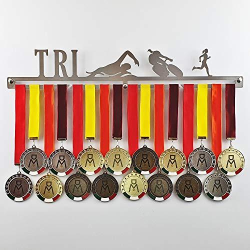 Triathlon - Medagliere da Parete Femminile - Porta medaglie Triatlon (Corsa, Nuoto, Ciclismo) - Sport Medal Hanger - Display Rack (F 450 mm x 80 mm x 3 mm)
