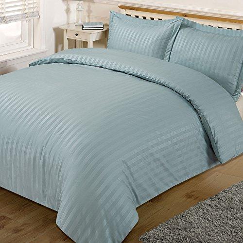 Dreamscene Beautiful Satin Stripe Duvet Bedding Set, Duck Egg Blue, King