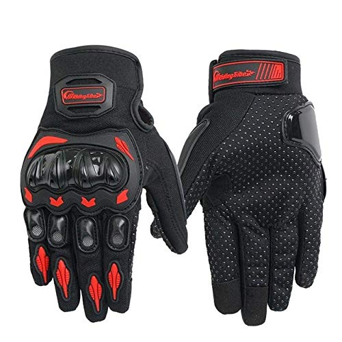 Unisex Vollfinger Motorradhandschuhe Sommer Atmungsaktive Moto Riding Schutzausrüstung rutschfeste Touchscreen Handschuhe Motorrad-Red L