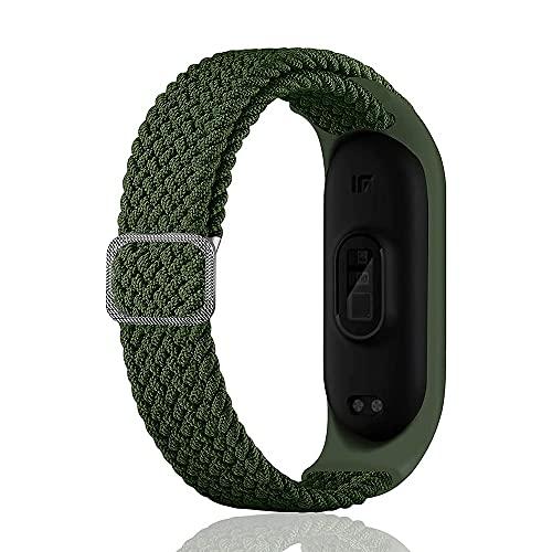 SeNool Correas Compatible con Xiaomi Mi Band 6/Band 5/Band 4 Pulseras Reloj Banda Nailon Trenzada Loop Hebilla Ajustable de Repuesto para Xiaomi Mi Band 6/ Band 5 / Band 4 verde