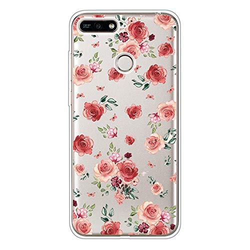 CUagain Kompatibel mit Huawei Honor 7C/Y7 Prime 2018 Hülle Transparent Silikon Klar Ultra Dünn Slim Lustig Motiv Muster Bumper Hüllen Durchsichtig Handyhülle Hülle Cover für Mädchen Damen Blume