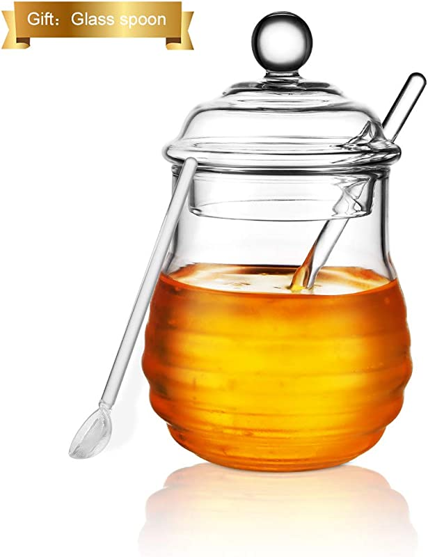 Glass Honey Jar With Dipper And Lid ONEISALL 9oz Glass Beehive Honey Pot For Home Kitchen