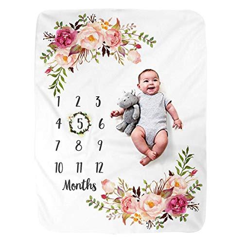 JMITHA Baby Monats Decke, Neugeborene oenbopo Baby Monatliche als Foto Hintergrund mit Meilenstein-Druckmuster 100x130cm