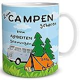 TRIOSK Tasse Camping lustig mit Camper Spruch Zum Campen geboren Campingmotiv Geschenk für Frauen Männer Campingfreunde