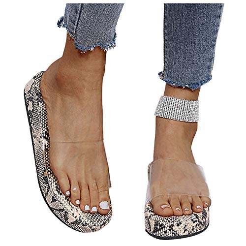 Geilisungren Damen Slide Sandalen Slippers Casual Open Toe Flip Flops Transparente Schlangenhaut Muster Outdoor Strand Flache Hausschuhe