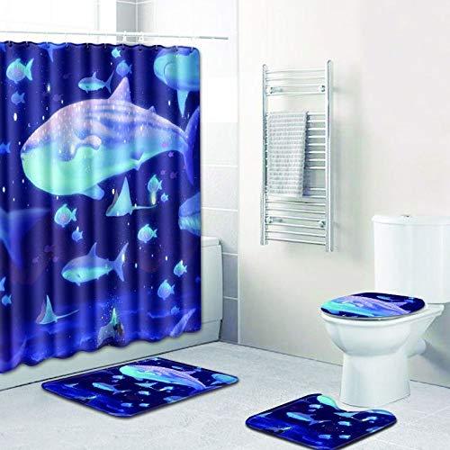 WANJIA Conjunto de baño de baño Absorbente Antideslizante, Cortina de baño + tapete de baño + tapete de Piso en Forma de U + Cubierta de WC + 12 Ganchos para Cortinas de baño.W180603-D028 50 * 80cm