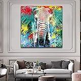 N / A Colorido Elefante póster Animal Indio Lienzo Cuadros Cuadros decoración del hogar para Sala de Estar sofá Pared Arte Cuadros Carteles 60x60 cm sin Marco