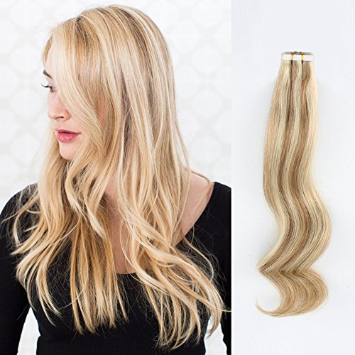 ABH AmazingBeauty Hair Pre-taped Sun-kissed Highlights Hair Tape Extensions, Invisible Seamless Double Side Real Remy Human Hair Skin Weft, 50g 20pcs, Bronde with Beach Blonde Color 10-613, 18 Inch