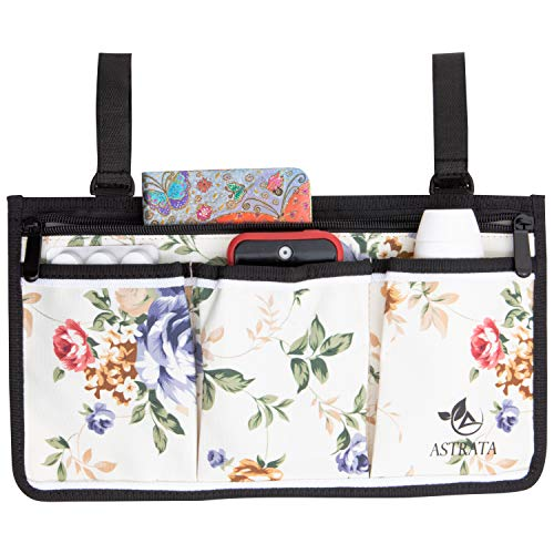 Wheelchair Side Bag - Arm Rest Pouch - Wheel Chair Accessories Organizers - Fits Walkers, Rollators, Scooters (Flower)
