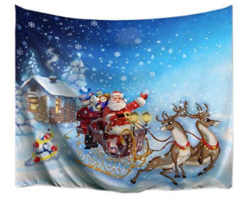 A.Monamour Tapices Tema De La Navidad Vacaciones De Invierno La Nieve Blanco Santa Claus Renos Tirando del Trineo...