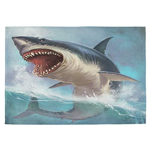 Oarencol, tovagliette all'Americana con Disegno di squalo Bianco in 3D, Resistenti al Calore,...
