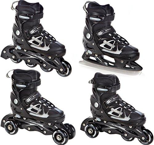 RAVEN 4in1 Inlineskates/Triskates/Rollschuhe/Schlittschuhe Spirit Black/White verstellbar Größe: 33-36 (20cm-22,5cm)