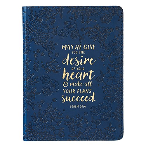 Christian Art Gifts Floral Blue Faux Leather Journal | Desire Of Your Heart Psalm 20:4 Bible Verse | Handy-sized Flexcover Inspirational Notebook ... 240 Lined Pages, Gilt Edges, 5.5 x 7 Inches