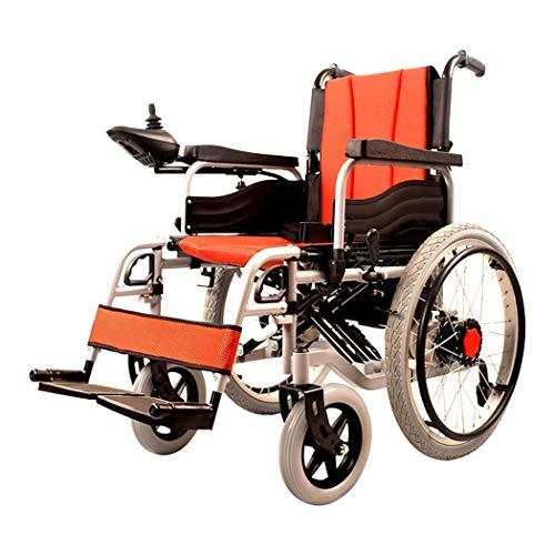 SLRMKK Tragbarer klappbarer Rollstuhl, leichtes faltbares Doppelfunktions-Antriebsrad (Li-Ionen-Batterie), Antrieb mit elektrischer Energie oder Verwendung als manuelles Rad