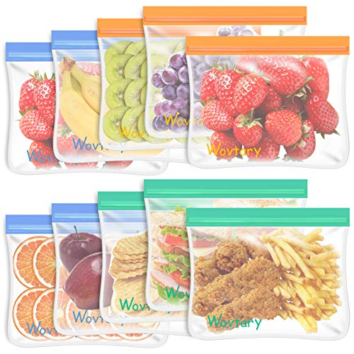 10 Pack Reusable Sandwich Bags,Dishwasher Safe Reusable Food Storage Bags,Reusable Snack Bags Leakproof Silicone - Free Plastic BPA Free Lunch Bags for Food Travel