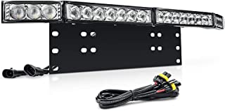 MICTUNING Led Light Bar Mounting Bracket Front License Plate Holder with 60W LED Work Driving Light Bar for Car Jeep Truck SUV and More