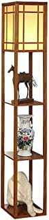 -Lampe de solon Retro Lampadaire style chinois en bois massif Creative 3 couches Shelf Home Hôtel Salon Sofa Décoration LE...