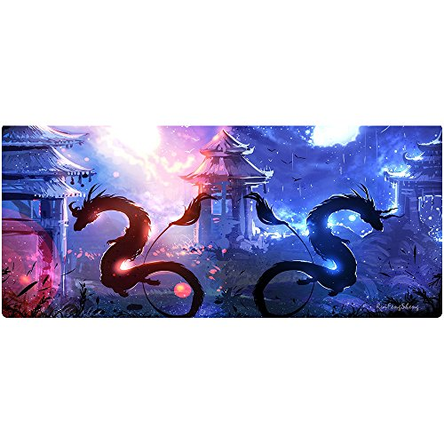Ruifengsheng Large Gaming Mouse Pad,Extra Large Size Mat,Extended XXL Size Mouse Pad, Non-Slippery Rubber Base,(Edge Stitched) (35.4' 15.7') (90x40 Two Dragon05)