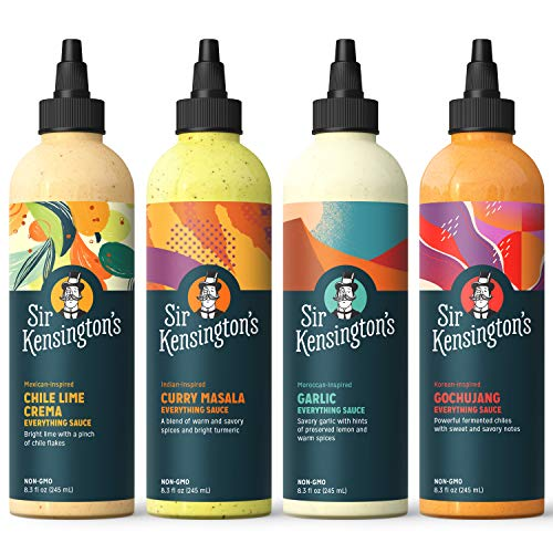 Sir Kensington's Everything Sauce Variety Pack, Chile Lime, Garlic, Gochujang, Curry Masala, Keto Diet Certified, Dairy Free, Gluten Free, Non- GMO Project Verified, Shelf-Stable, 8.3oz Pack of 4