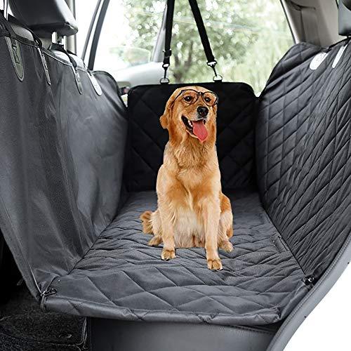 FYZS Betten Hund Sitz Auto-Sitzabdeckung, 600D Heavy Duty Wasserdicht Hunde Mit Rücksitzseiten Flap Durable Haustiere Sitzbezüge For Autos Trucks Und SUVs, Bearing: 85lbs (Color : Black)
