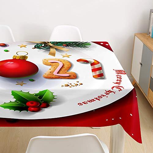 Morbuy Manteles Navideño Manteles de Mesa Impermeable Antimanchas Rectangular Lavable Manteles de Poliéster para Cocina Comedor Decoración del Hogar (Año Nuevo 2021,140x180cm)
