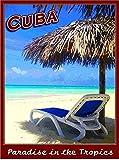 OKWallArt Kits de pintura de diamante 5D Taladro completo Cuba Paraíso Cubano Tropics Habana Viajes Arte Publicidad Cartel DIY Artes Artesanía Decoración de Pared Hogar