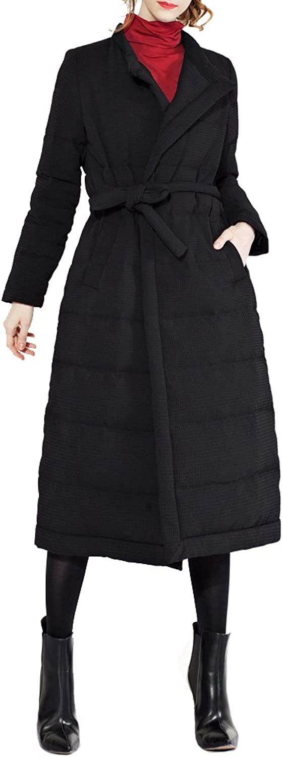 Allonly Women's Stand Collar Thicken Maxi Puffer Jacket Down Coat with Tie Waist