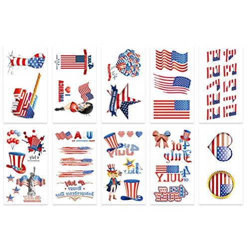 Amosfun 20 Stück American Tattoo Sticker Unabhängigkeit Day Body Stickers Patriotische Körperdekoration