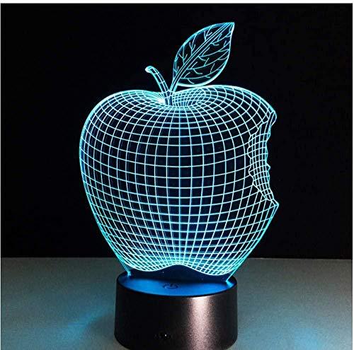 Luz nocturna 3D de 7 colores cambiantes de la lámpara USB de la luz de la noche de colores de Apple LED 3D tridimensional lámpara de escritorio Visual Led Novedad Iluminación Toque's Room