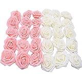 30 Piezas Rosa Artificial, Decoraciones Flor Bricolaje Rosas Falsas, Regalo Rosas Espuma, para Decoración Bodas (Blanco Lechoso, Rosa Claro)