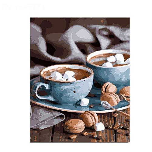WMQMW Nachmittag Kaffee Diamant Für Hauptwanddekor Quick Point Stylus Stift Single Point Stitch Tool Erwachsene Muster Kunsthandwerk Kristall Runde Diamant 40X50 cm