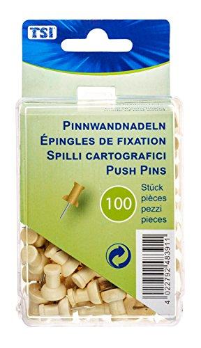 TSI 48391 Pinnwandnadeln aus Holz, 100er Packung in der praktischen Aufbewahrungsbox