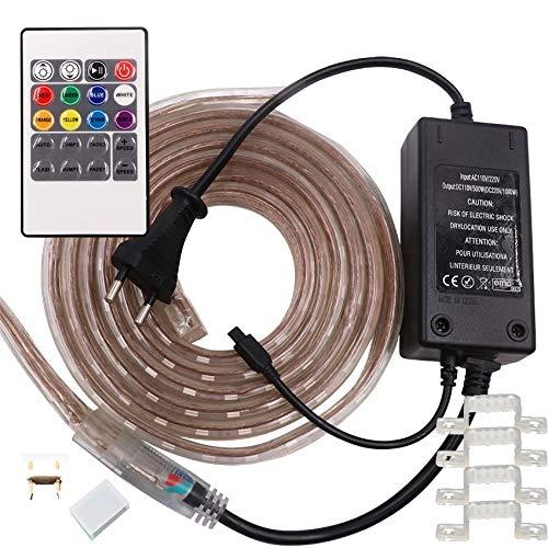 LMIAOM Tira del RGB LED 5050 220V 110V 120V impermeable al aire libre de la cinta de Tira flexible RGB neón cinta remota controlar kit de 1m 5m 10m 20m 25m Nueva barra de luz LED