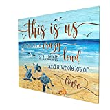 DRAWPRO Sea Turtle Bathroom Decor Wall Art Canvas Family Life This Is Us Quotes Print Paintings Framed Pictures Modern Home Decor For Living Room Kitchen Bathroom Ready To Hang,20x24 Inch