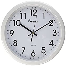 Impecca WCW12M1 Non Ticking Sweep Movement 12 Wall Clock (White)