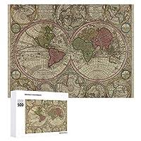 INOV 世界(1730年) 2 ヴィンテージ 地図 ジグソーパズル 木製パズル 500ピース キッズ 学習 認知 玩具 大人 ブレインティー 知育 puzzle (38 x 52 cm)