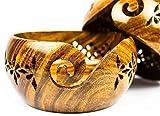 Tazón de hilo de madera portátil para tejer con agujeros tallados y taladros, regalo para la madre de Bhartiya Handicrafts (6 x 6 x 7 cm)