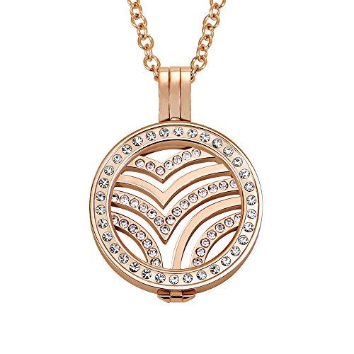 Quiges 70cm Halskette Set Rosegold Edelstahl mit Kristall Anhänger und 25mm Small Vogel Welle Zirkonia Coin