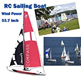 53.74 Inch RC Sailing Boat Super Huge Unpowered Hobby Remote Control Boat 2.4G 4CH Pre-Assembled Sail Model for Adult Boy Age 14+(Fast Express Offers)