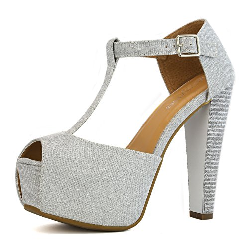 DailyShoes Ankle Platform Sandal Pumps High Low Heel Chunky Buckle Strap T Peep Toe D'Orsay Heeled Sexy Dress Sandals Hilary-99 Silver Gl 10
