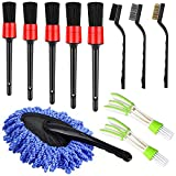 TTCR-II 11 Pcs Car Wheel Tyre Detailing Brush, Duster Brush Cleaning Kit for AC Vent, Console Dashboard, Engine and Exterior Car Body (Detailling Brushes, Dash Duster, Wire Brushes, Vent Brushes)