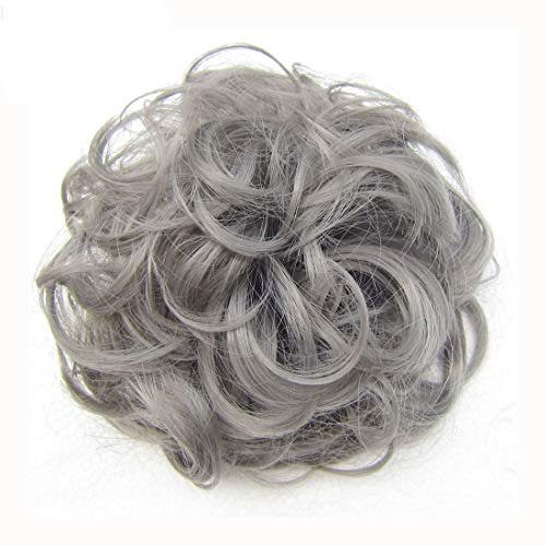 HI GIRL Short Messy Gray Ladies Elastic Wave Curly Synthetic Hairpieces Scrunchie Wrap Hair Bun Chignon Accessories 30g #Dimgray