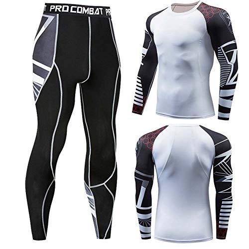 ZWLXY 2Pcs / Set Männer Workout Sportanzug Gym Fitness Kompression Kleidung Laufen Jogging Sport Wear-Übungs-Trainings-Strumpfhosen,D,M