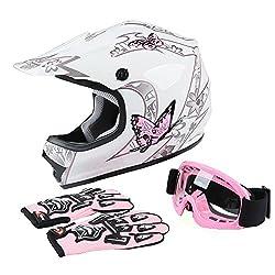 top rated TCT-MTDOT Helmet + Goggles + Gloves Youth Children's Helmet Pink Butterfly Dirt Bike Motocross Offroad… 2021